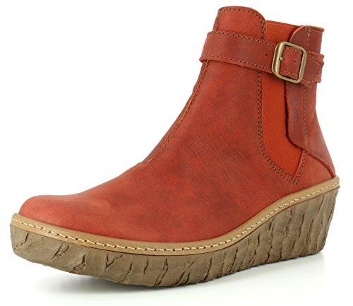 El Naturalista N5133 Myth Yggdrasil Komfortabler Damen Chelsea Boot, Stiefelette, Schlupfstiefel, perfekte Passform durch Gummizug, Keilabsatz, Wedge Absatz Rot (Caldera), EU 39