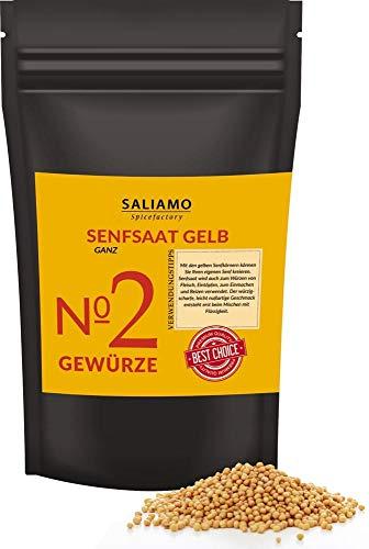 1 Kg Senfsaat, Senfsamen gelb/weiß, Senfkörner, zur Senfherstellung, Senföl, zum einlegen von Essig Gurken, als Grillgewürz für Fleisch, Fisch, als Zutat zu Rubs, Marinaden und Soßen   Saliamo