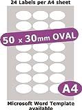 50 x 30 mm OVAL, 120 Etiketten, Papier Weiß Matt, 5 A4 Blätter, für Laserkopierer