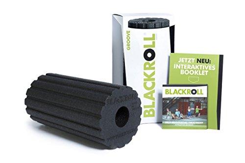 BLACKROLL® GROOVE Faszienrolle - das Original (Härtegrad mittel) - Selbstmassage-Rolle mit Vibrationseffekt für die Faszien in schwarz + Booklet