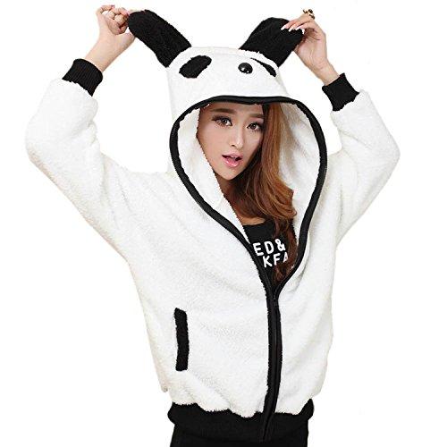 LOSORN ZPY Frauen Cartoon Panda Plüsch Kapuzenjacke mit Ohren Mantel Hoodies Zip Sweatshirt (One Size, (Panda Ohren Mit Hoodie)