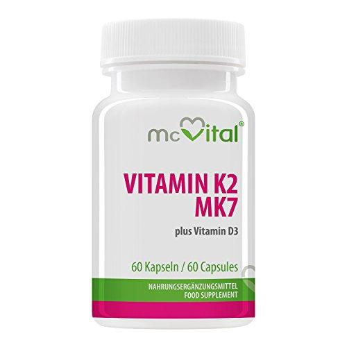 Vitamin K2 MK7 plus - Vitamin D3 - Effektiver Knochenaufbau - Mehr Bewegungsfreiheit - 60 Kapseln