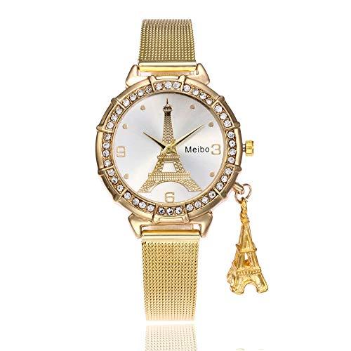 Bestow Reloj de Pulsera de Cuarzo de Acero Inoxidable MEIBO Fashion Women  Eiffel Tower Torre Eiffel Net de Hierro 58f03a008931