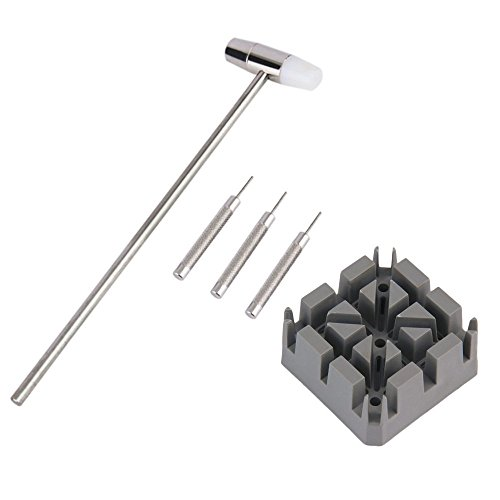 Minkoll Uhrmacherhammer, Band Link Remover Tool Kit Punsch Pins Uhrenarmbandhalter Hammer