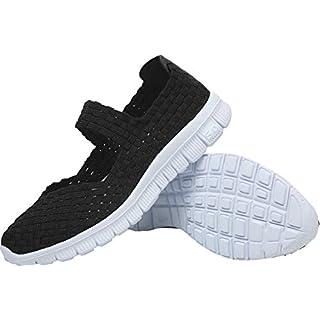 L-RUN Women's Woven Sneaker Flat Slip On Shoes Light Weight All Black EU38