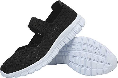8239da5a81333 L-Run Womens Woven Shoes Daily Walking Shoes Casual Casual Todo Negro EU35