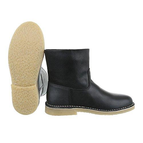 Komfort Stiefeletten Leder Damenschuhe Schlupfstiefel Blockabsatz Blockabsatz Ital-Design Stiefeletten Schwarz