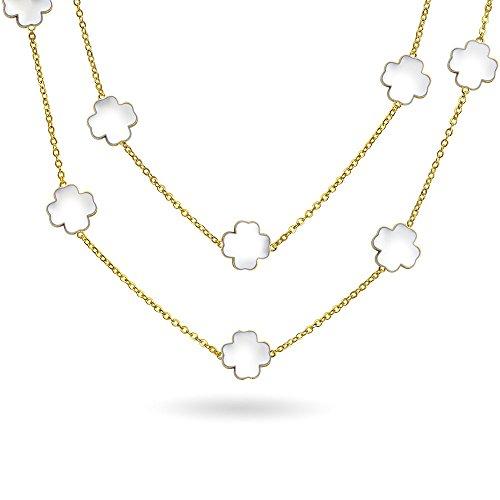 Weißklee Blume Lange Vergoldet Messing Station Tin Cup Kette Wrap Layer Lange Halskette Für Damen 42 Zoll - Cup-halskette Tin