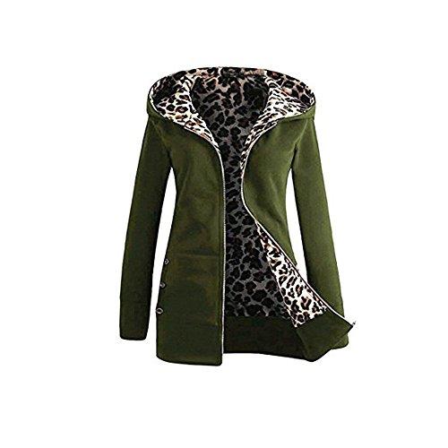 Sweat A Capuche Femme Kangrunmy Veste Capuche Hooded Femmes Plus Velours Plus Leopard Fermeture Manteau Pardessus Outwear Tops Sweatshirt Coat Overcoat Outwear Clothes VêTements G