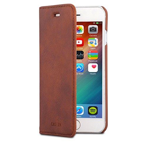 CASEZA iPhone 6 / 6s Kunstleder Flip Case Oslo Braun - Ultra schlanke PU Lederhülle Ledertasche Leder Hülle für das Original Apple iPhone 6/6s (4.7 Zoll) - Edles Cover mit Magnetverschluss