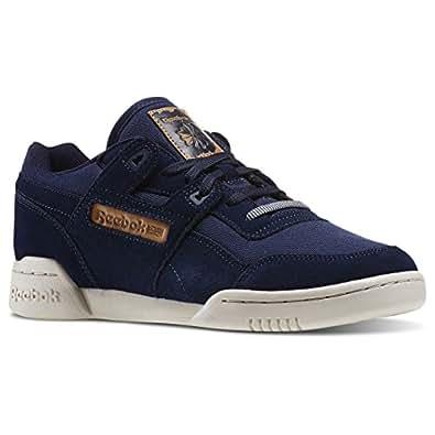 Reebok Workout Plus Utility, Chaussures de Sport Homme, Bleu / Blanc (Bleu Marine Collégial / Fleur de Souci / Stuc), 43 EU