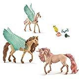 Bayala Schleich - Schmuckeinhorn - Pegasus Familie mit Futterset (70573, 70574, 70575 u.42141)