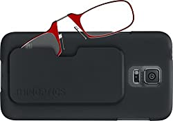 ThinOPTICS Reading Glasses on your Phone, Samsung Galaxy S5 Black Case, +2.00 Red Glasses