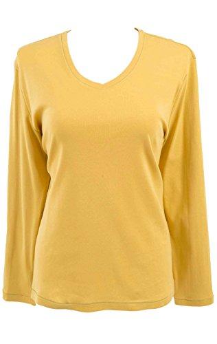 adonia mode Edles Basic-Shirt 3/4-Arm V-Ausschnitt , Gr. 44 - 46 , 2 Farben zur Auswahl Senf-Gelb