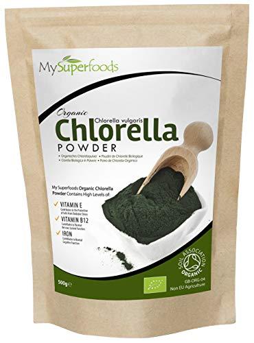 Bio Chlorella-Pulver (500 Gramm) | MySuperFoods | unglaublich hoher Chlorophyllgehalt | Platzt mit Nährstoffen| Organisch zertifiziert | Gesunde essbare Alge | In Getränke und Smoothies