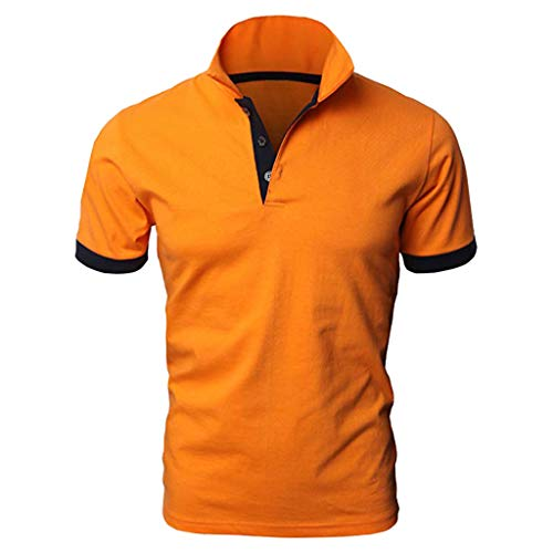 30d61665 POPLY Polo Shirt for Men,Casual Solid Short Sleeve T-Shirt with Front Button