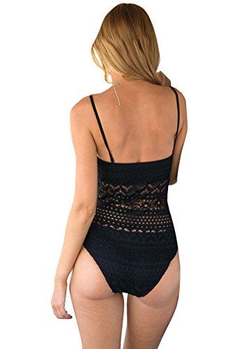 Lookbook Store Damen einteilig Schwimmanzug SW-116 mit abnehmbarem Nackenband, teilweise gefüttert Schwarz