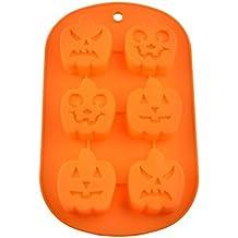 FantasyDay® Stampo in Silicone con 6 Cavità per Cubetti di Ghiaccio, Biscotti, Tortini, Cioccolato, Dolci - Halloween Zucca