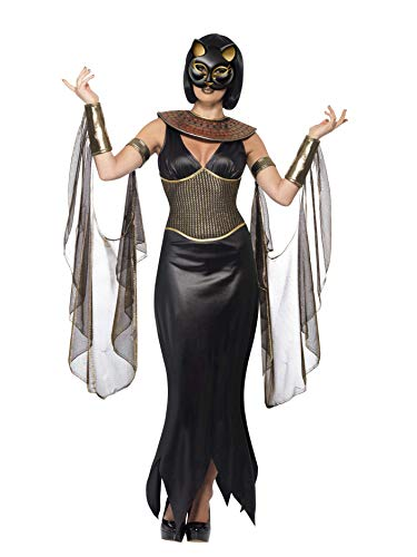Smiffys, Damen Bastet die Katzengöttin Kostüm, Kleid mit Halskragen, Drapierte Ärmel und Maske, Größe: M, 40098 (Goldene Göttin Kostüm)