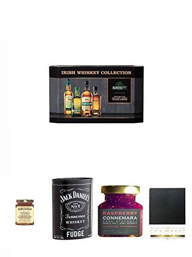 Cooley Collection neues Design Irish Whisky Mini 4 x 5cl + Edradour Malt Whisky Orangen Marmelade 227 Gramm Glas + Jack Daniels Malt Whisky Fudge in Blechdose 300g + Connemara Irish Whisky Himbeer Marmelade 150g im Glas + Schiefer Glasuntersetzer eckig c
