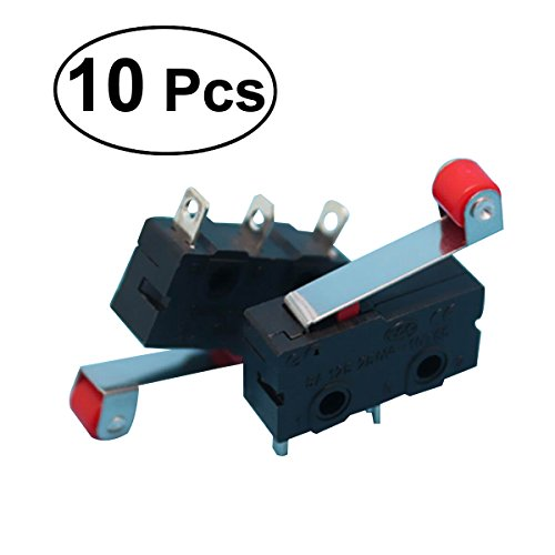 BESTOMZ 10 Stücke Mikroschalter Endschalter mit Rolle 3 Pins 250 V 5A SPDT 1NO 1NC
