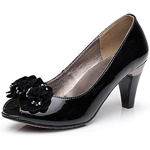 YUE Ladies Leather heels/Asakuchi arco peep dita dei piedi/A mettere piede in sandali la piccola donna
