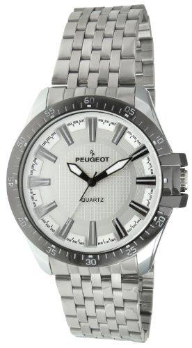 Peugeot 1025S Men's Wrist Watch, Metal Band–Silver