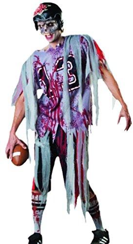erdbeerloft - Herren Karneval Endzeit Zombie Football Kostüm 5-teilig weiss, M-L One Size One (Kostüme Zombie Fußball)