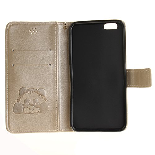 Valentoria iPhone 7plus 14cm Coque, Premium vintage Panda Mignon Animal Portefeuille à rabat en cuir avec dragonne pour iPhone 7plus, Similicuir, bleu, iPhone 6 Plus doré