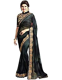 Magneitta Sarees For Women Embroidered Half And Half Georgette Saree With Blouse Piece Material For Party Wear...