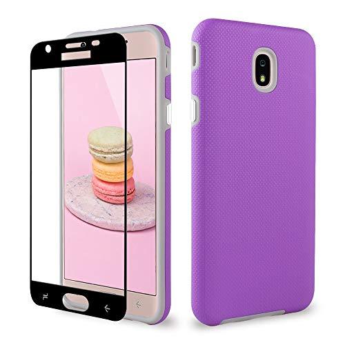 J7 2018 Samsung Case/J7 Prime/J7 Aero/J7 Star/J7 Refine/J7 Top Case, ipush Full Body Protective Shockproof Case Cover with Tempered Glass Screen Protector, violett