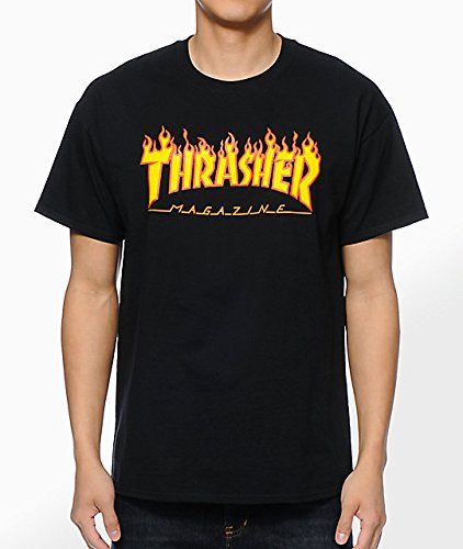 Thrasher flame black t-shirt taglia s......