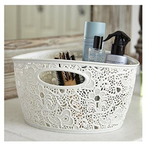 Curver 7 Litre Lace Effect Basket, Vintage White - low-cost UK light shop.
