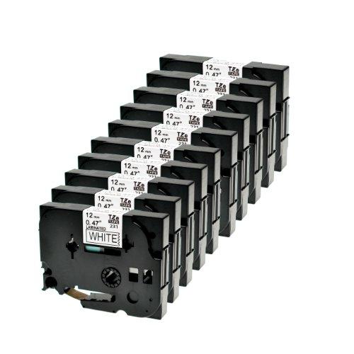 Logic-Seek 10 Schriftbänder kompatibel für Brother TZE231 12mm P-Touch 1000W 1830 2730 D200 7100 2100 2030 1830 7600 VP 2430 1230 9700 PC 1090 2470 1290 1010 1080 1830 E100 P700 Schwarz auf Weiss