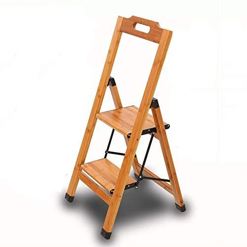 GAIXIA-Taburete de Escalera Escalera móvil de bambú Plegable con Dos peldaños y Escalera de Madera Antideslizante en el Piso de la barandilla de Seguridad