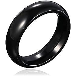 DonDon anillo de acero inoxidable color negro redondeado - 22 (19,74 mm)