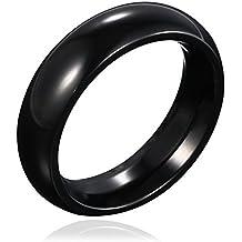 46a9ce8ebb31 DonDon anillo de acero inoxidable de color negro y redondeado para hombres