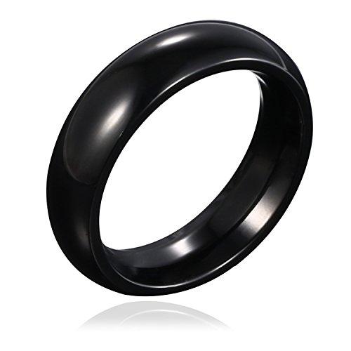 DonDon Herren Ring Edelstahl schwarz abgerundet – 64 (20.4)