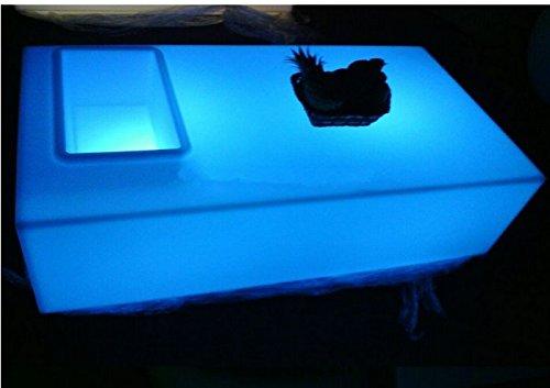 Preisvergleich Produktbild Gowe Couchtisch Rechteck Öffnung quadratisch LED Licht Tisch Fernbedienung Wohnzimmer Möbel Luxus Hotel KTV Bar Tische