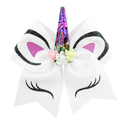 Romote 1pc Haar-Zusätze mit Einer Fliege das kleine Mädchen Einhorn-Haar-Band-Haar-Klipps Unicorn Cute Unicorn-Haar-Klipps für Haar-Styling-Baby-Geburtstags-Geschenk-Partei-Bevorzugungen (weiß) (Geburtstag-partei-bevorzugungen Für Kleinkinder)