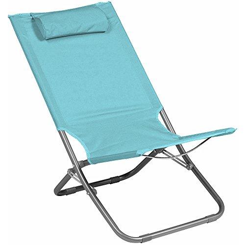 Spiaggina sedia a sdraio da mare campeggio giardino - pieghevole con cuscino per appoggio testa - tubo diametro 22mm (tiffany)