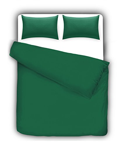 Linen Zone®, Bettbezug-Set aus hochwertigem Perkal, pflegeleicht, unifarben, gesteppter Deckenbezug mit Kissenhüllen, Teal/Jade, Super King (Bettwäsche Teal)