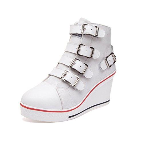 Damen Frühling Herbst Aufzug High Heels Klettband Langschaft Wildleder Flach Sneakers Segeltuchschuhe Weiß