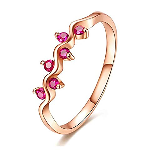 JiangXin Women's Created Red Ruby Rose Gold Plated Fashion Ring Size L N P R