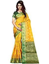 Greenvilla Designs Yellow And Green Banarasi Silk Wedding Saree