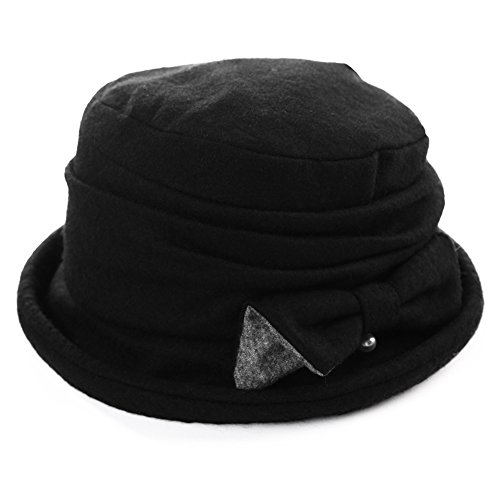 Winter Damen Glokenhut Wolle warme Bucket Cloche Hut mit Schleife SIGGI Schwarz (Bucket Damen Hat Schwarze)