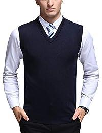 Yonglan Hombre Color Sólido Cuello En V Chaleco De Punto Sin Mangas Suéter Chalecos Armada XL