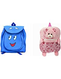 Pratham Enterprises Combo Of Blue Smile Bag And Pink Print Bear Soft Toy Bag ( Pack Of 2 )