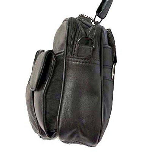 Echtes Leder Abgerundete Top Rucksack Organizer-Tasche Durch Silber Fever ® schwarz
