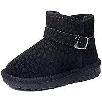 zj Botas de Nieve para Niños Leopardo de Invierno Calzados con Zapatos Casuales Más Gruesos de Terciopelo Zapatos de Algodón para Niños Grandes Zapatos Ligeros para Niños,Negro,28